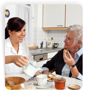 Caregiver and patient eating